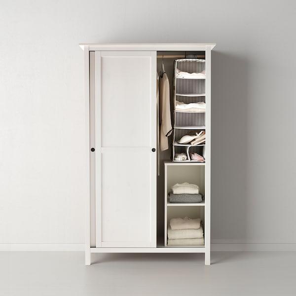 HEMNES Wardrobe with 2 sliding doors, white stain, 120x197 cm