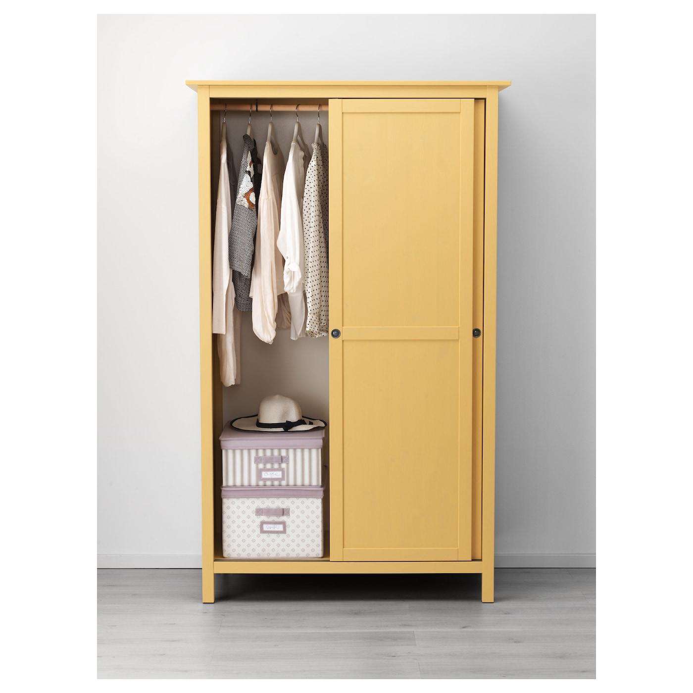 Design Ikea Closet hemnes wardrobe with 2 sliding doors yellow 120x197 cm ikea doors