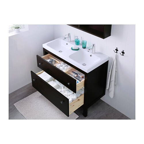IKEA HEMNES wash-stand with 2 drawers Smooth-running and soft-closing drawers with pull-out stop.
