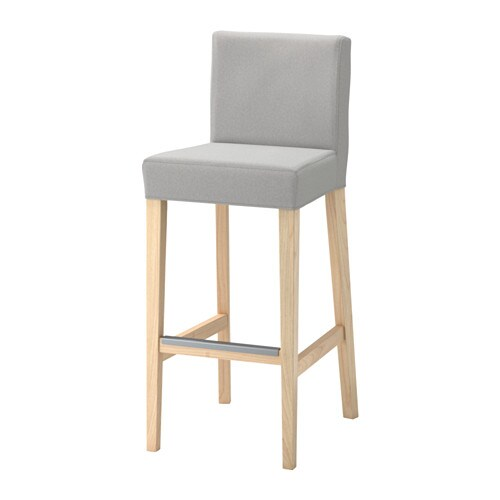Henriksdal Bar Stool With Backrest Birch Ramna Light Grey