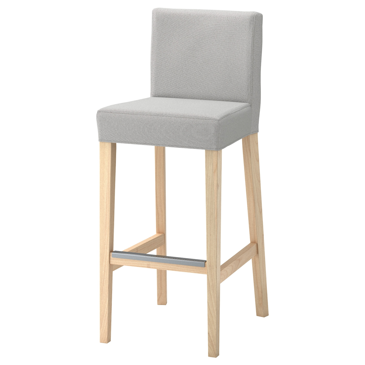 henriksdal bar stool with backrest birch ramna light grey. Black Bedroom Furniture Sets. Home Design Ideas