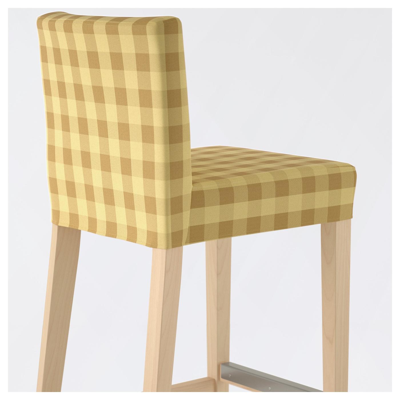 HENRIKSDAL Bar stool with backrest Birch skaftarp yellow 63 cm IKEA