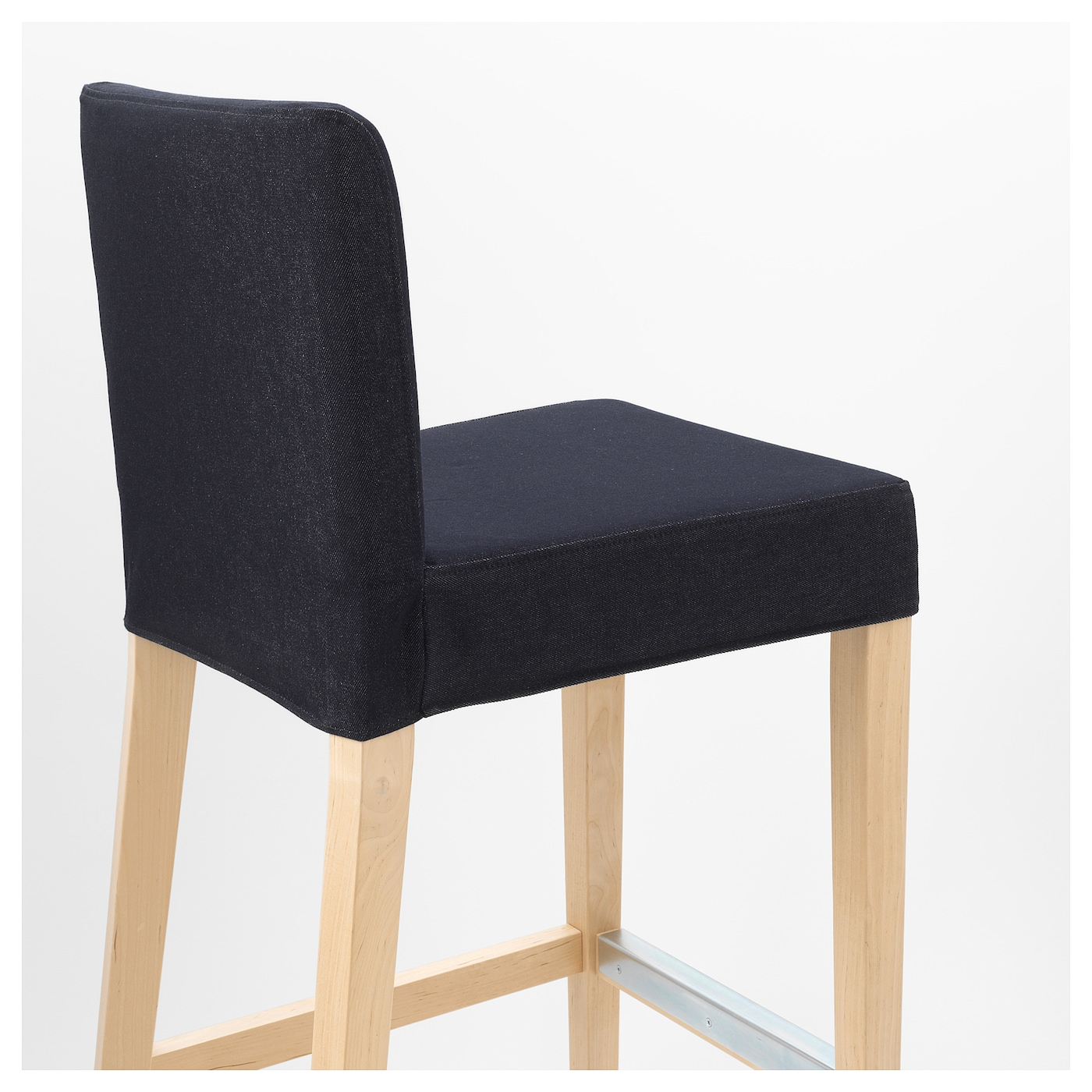 Henriksdal Bar Stool With Backrest Birch Vansta Dark Blue