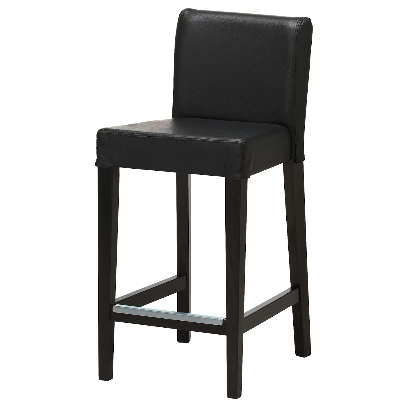 HENRIKSDAL Bar stool with backrest Brown-black/glose black 63 cm ...