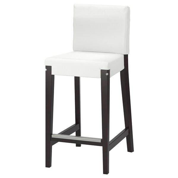HENRIKSDAL Bar stool with backrest frame, dark brown, 63 cm