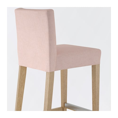 Henriksdal Bar Stool With Backrest Oak Gunnared Pale Pink