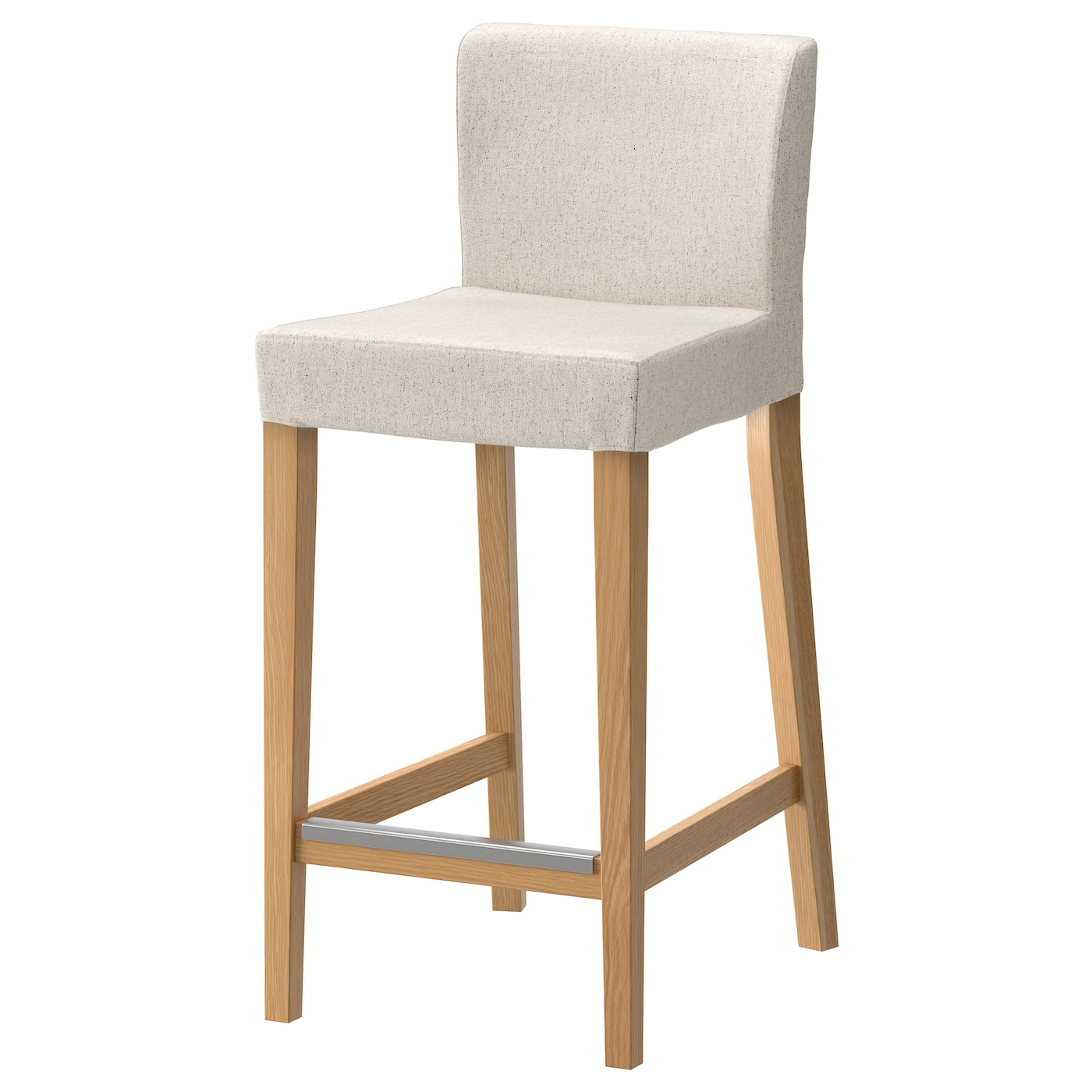 henriksdal bar stool with backrest oak linneryd natural 63 cm ikea. Black Bedroom Furniture Sets. Home Design Ideas