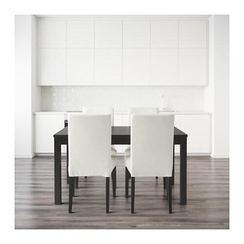 HENRIKSDALBJURSTA Table and 4 chairs Brownblackgrsbo white 140