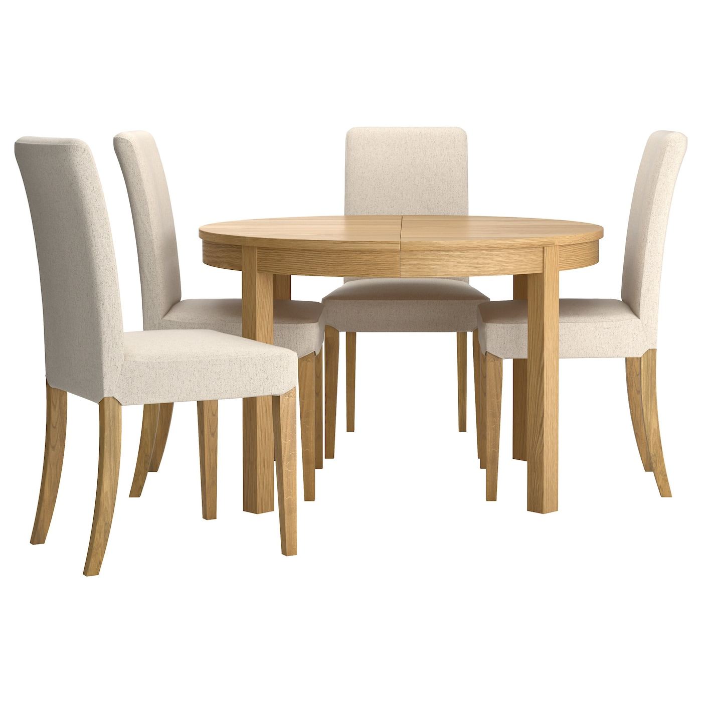 Henriksdal bjursta table and 4 chairs oak veneer linneryd for Ikea dining table and chairs set