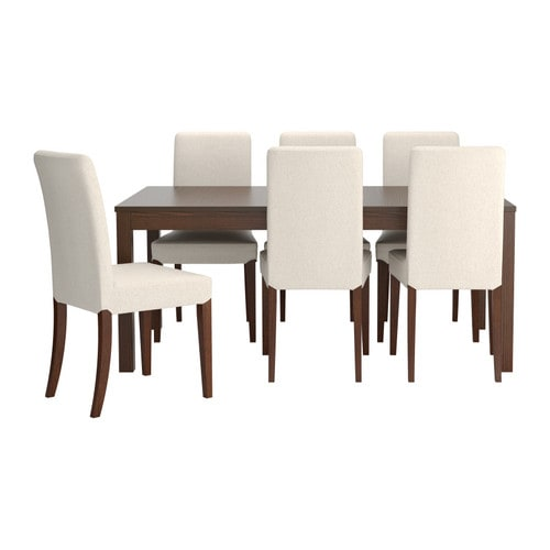 IKEA HENRIKSDAL/BJURSTA table and 6 chairs The clear-lacquered surface is easy to wipe clean.
