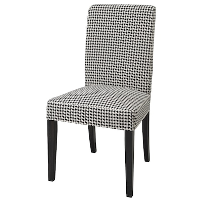 HENRIKSDAL Chair cover, Vibberbo black/beige