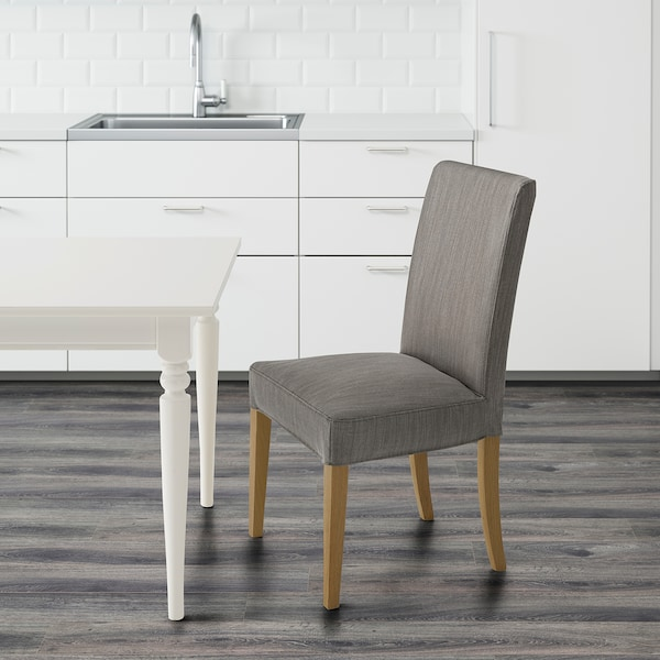 HENRIKSDAL Chair, oak/Nolhaga grey-beige