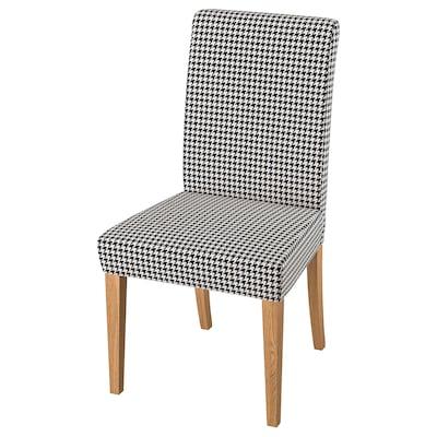 HENRIKSDAL Chair, oak/Vibberbo black/beige