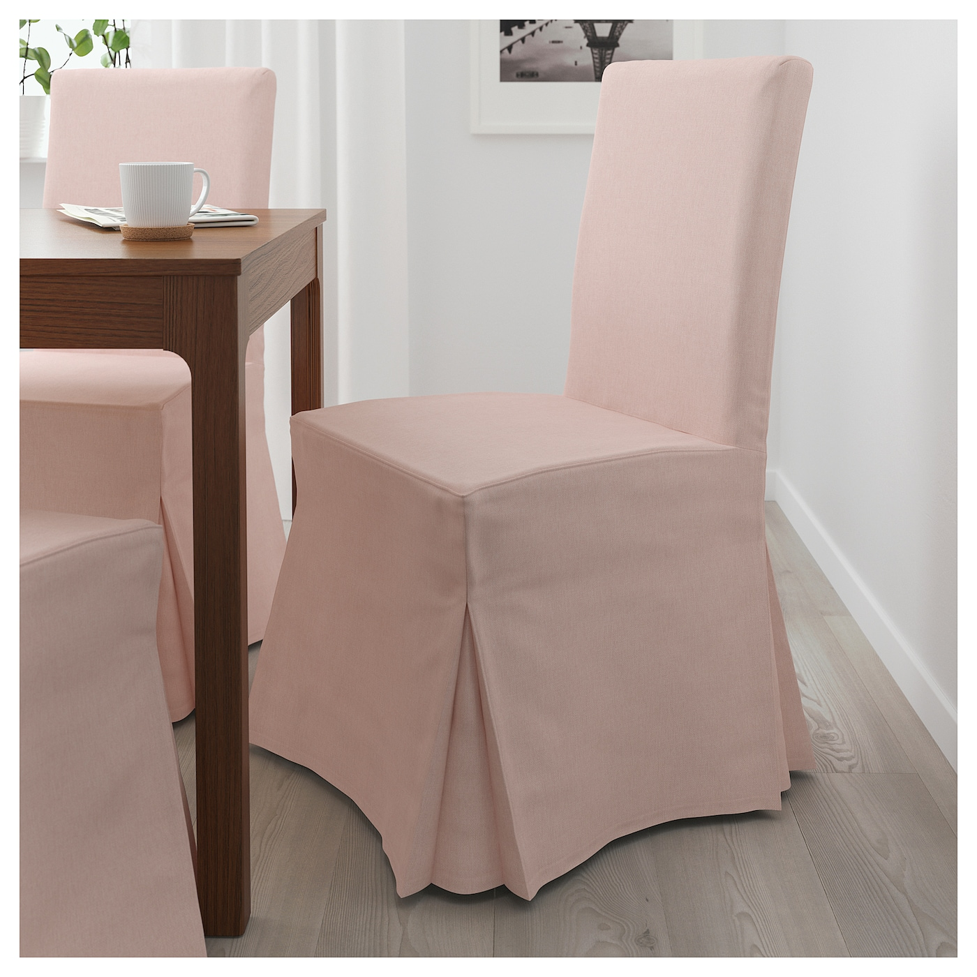 HENRIKSDAL Chair with long cover Brown gunnared pale pink IKEA
