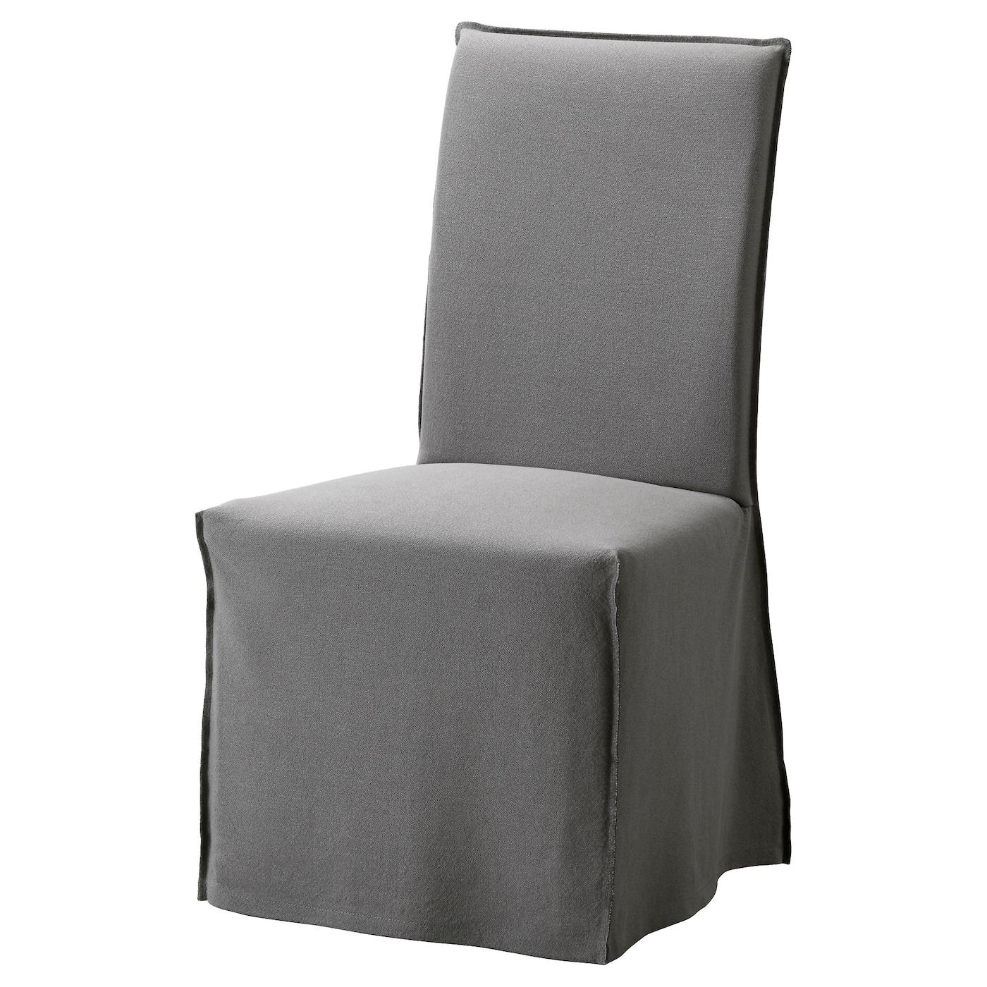 Henriksdal Chair With Long Cover Oak Risane Grey Ikea
