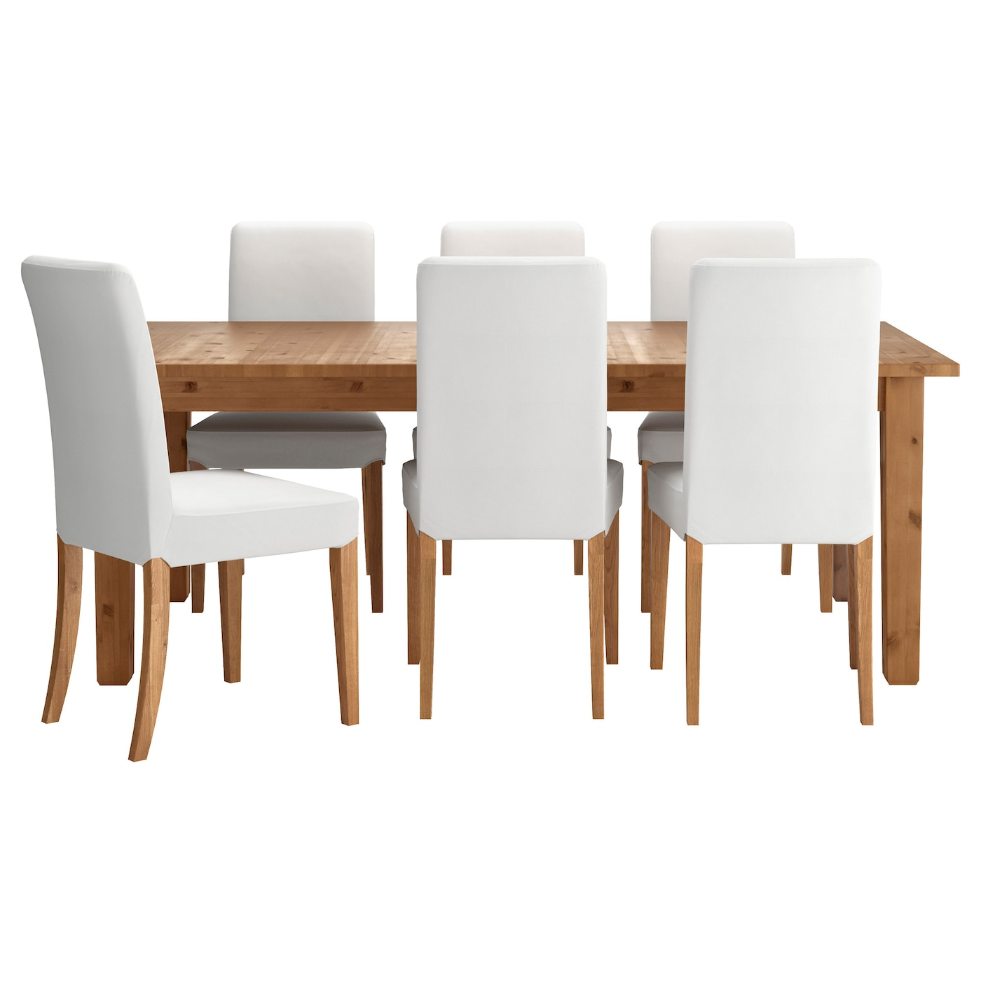 Henriksdal storn s table and 6 chairs antique stain gr sbo for Table a manger ikea