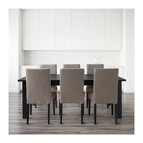HENRIKSDAL STORN S Table And 6 Chairs Brown Black Nolhaga Grey Beige 201 Cm