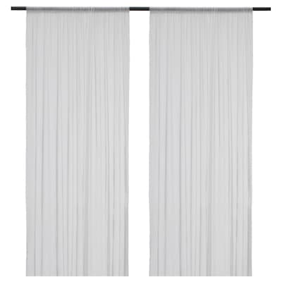 HILDRUN Sheer curtains, 1 pair, white/dotted, 145x250 cm