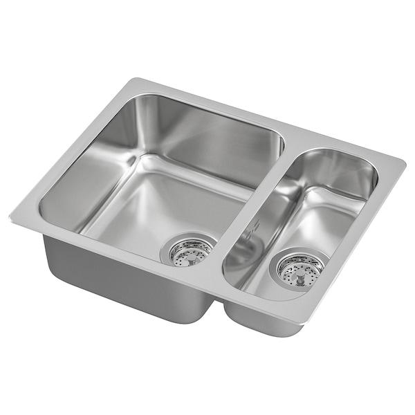 HILLESJÖN Inset sink 1 1/2 bowl, stainless steel, 58x46 cm