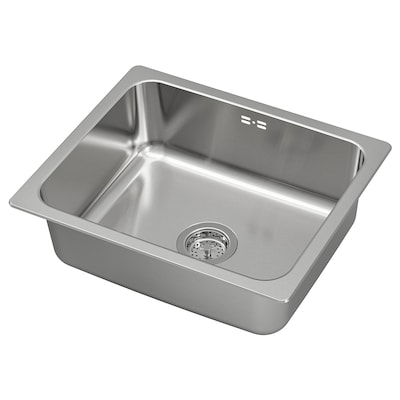 HILLESJÖN Inset sink, 1 bowl, stainless steel, 56x46 cm
