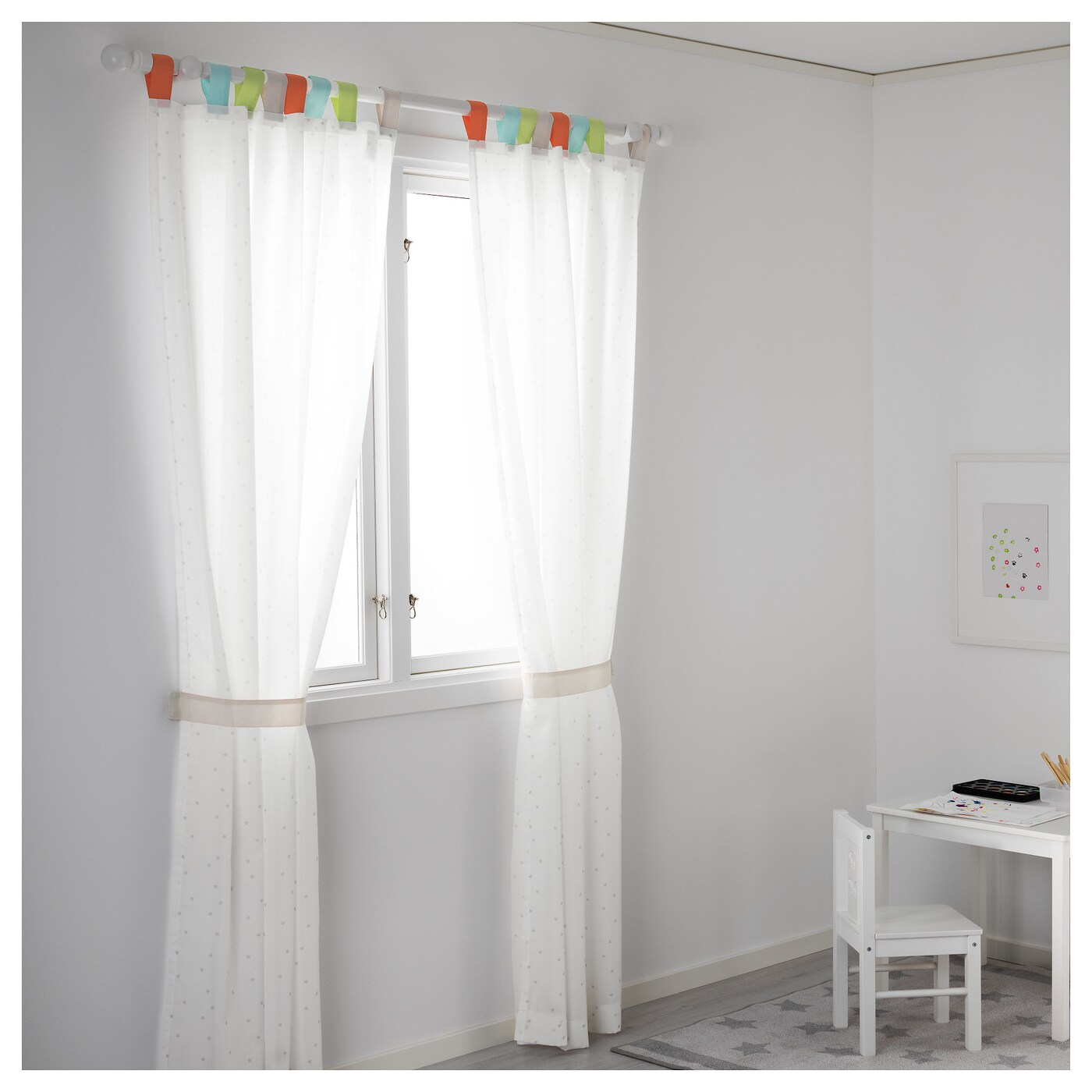 IKEA HIMMELSK curtains with tie-backs, 1 pair