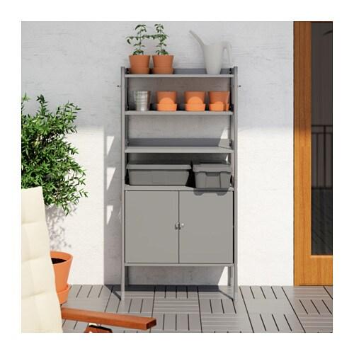 Hind cabinet w shelving unit in outdoor grey 78x158 cm ikea - Armarios de exterior ikea ...