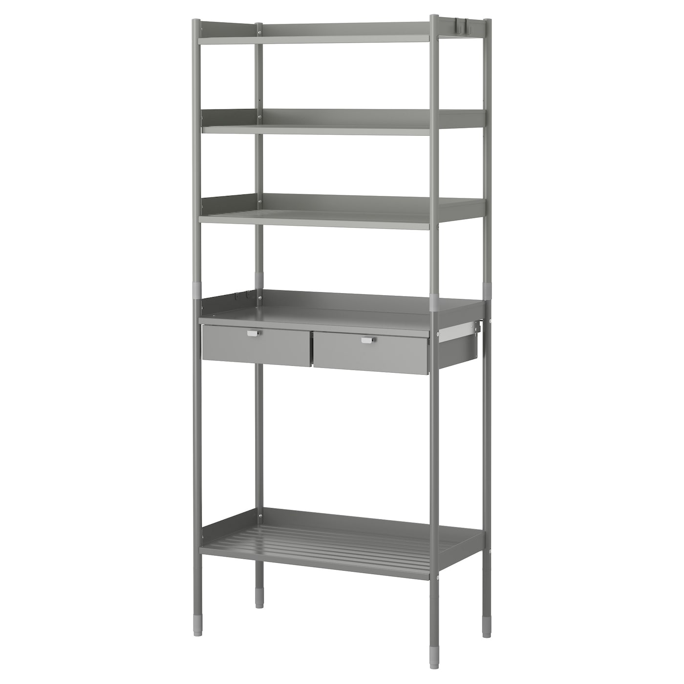 IKEA HINDÖ shelving unit in/outdoor The drawers have pull-out stops to keep them in place.