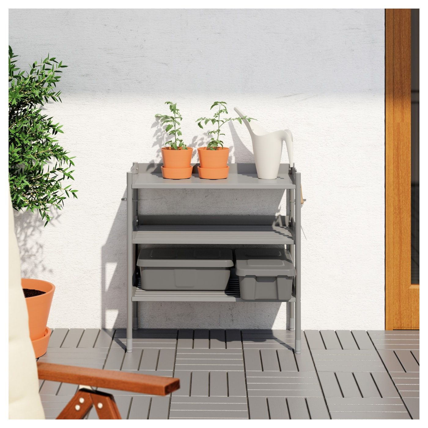 IKEA HINDÖ shelving unit in/outdoor You can adjust the height of the shelves to suit your needs.