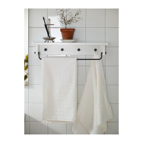 Hj lmaren towel hanger shelf white ikea Towel storage ideas ikea