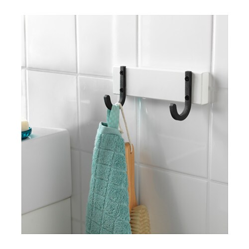 Hj lmaren towel rack with 2 hooks white ikea Towel storage ideas ikea