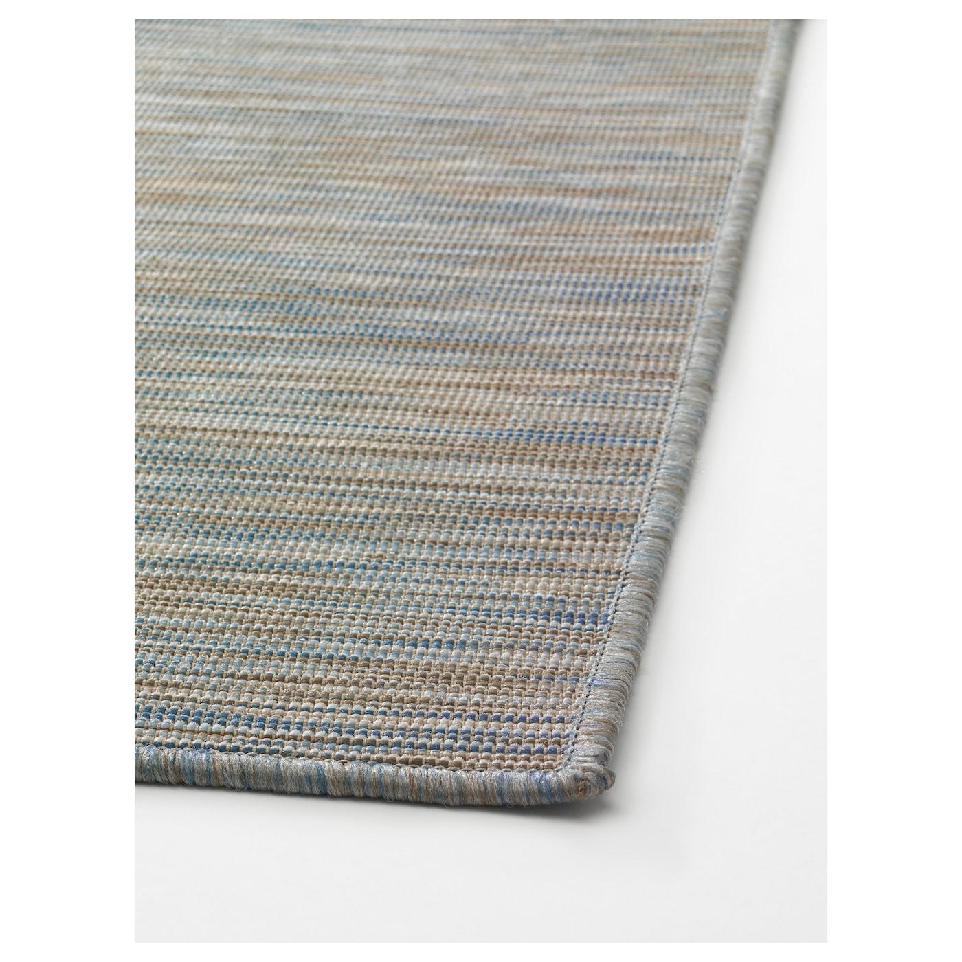 HODDE Rug flatwoven In outdoor blue beige 80x200 cm IKEA