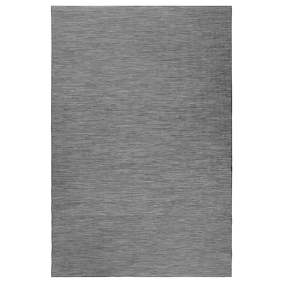 HODDE Rug flatwoven, in/outdoor, grey/black, 200x300 cm