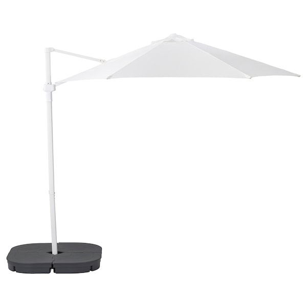 HÖGÖN Parasol, hanging with base, white/Svartö dark grey, 270 cm