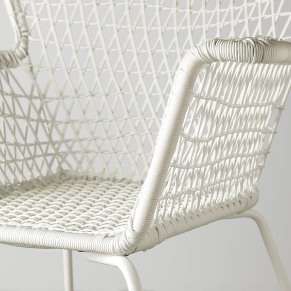 HÖGSTEN chair with armrests, outdoor white 73 cm 65 cm 83 cm 38 cm 48 cm 42 cm