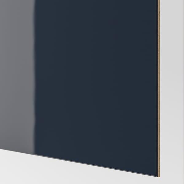 HOKKSUND Pair of sliding doors, high-gloss black-blue, 200x201 cm