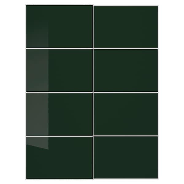 HOKKSUND Pair of sliding doors, high-gloss dark green, 150x201 cm