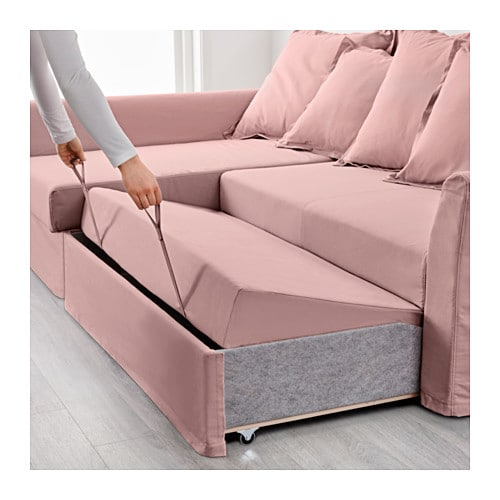 Holmsund corner sofa bed ransta light pink ikea for Ikea sofa rosa