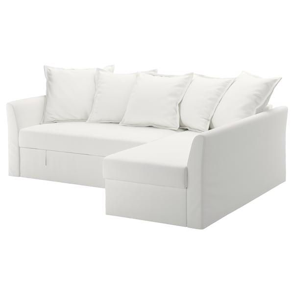 HOLMSUND Corner sofa-bed - Gräsbo white - IKEA