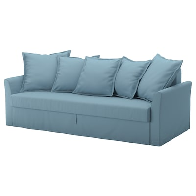 HOLMSUND Three-seat sofa-bed, Gräsbo light blue