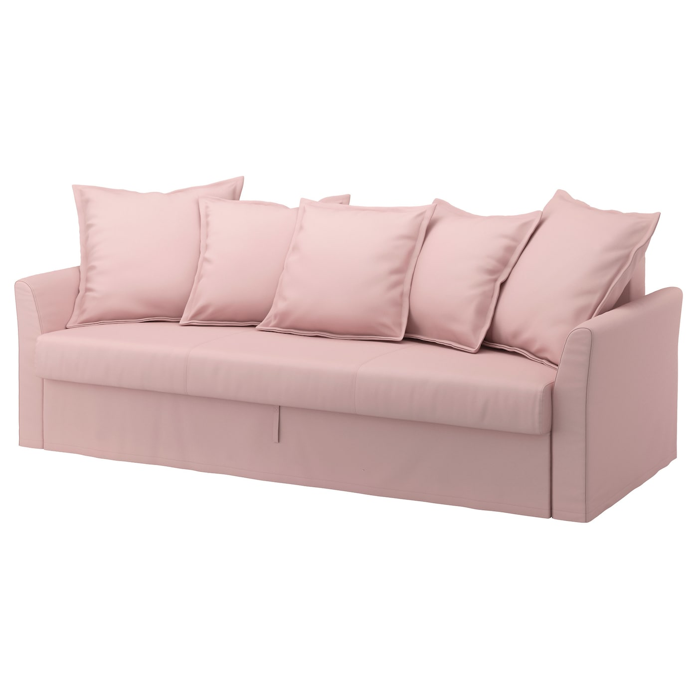 Holmsund three seat sofa bed ransta light pink ikea for Sofa cama con almacenaje