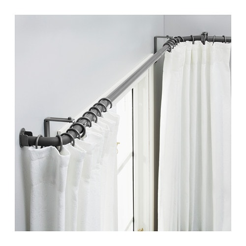 Curtains Ideas curtain rod for bay windows : HUGAD Curtain rod combination bay window Silver-colour - IKEA