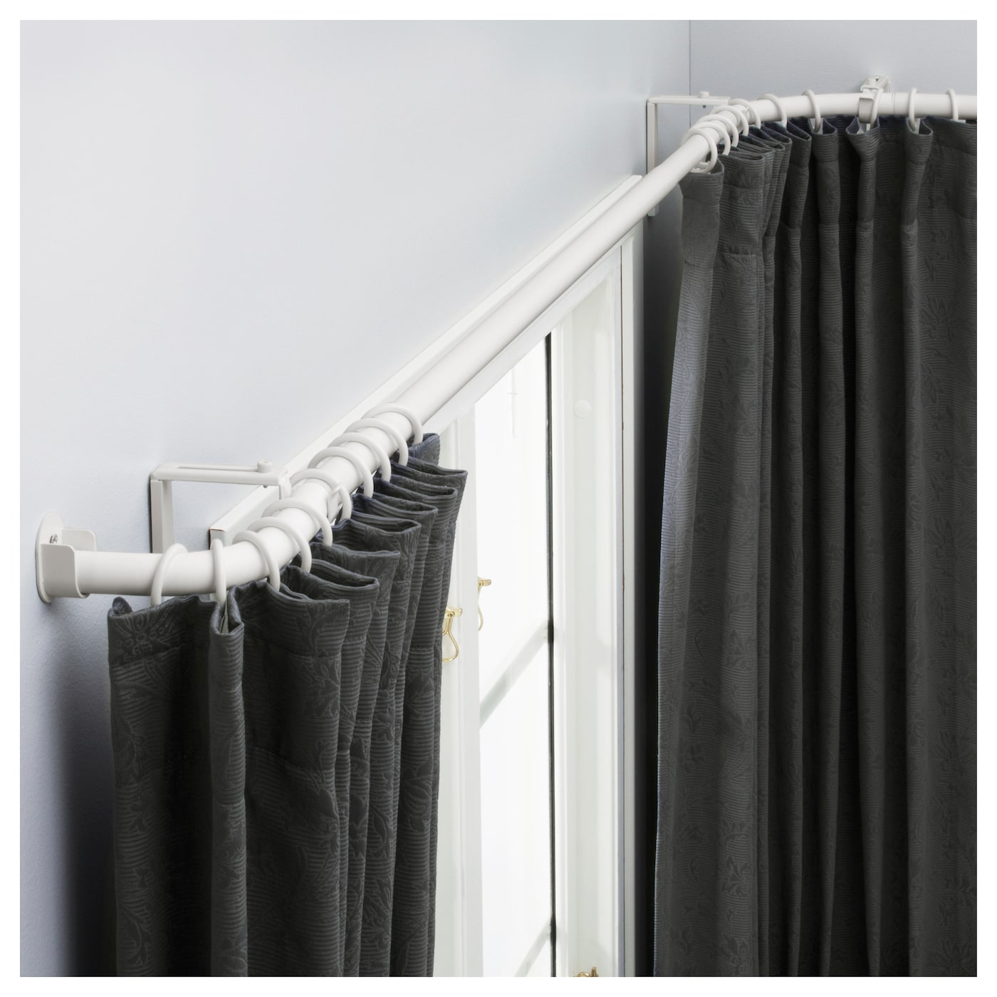 IKEA HUGAD curtain rod combination bay window
