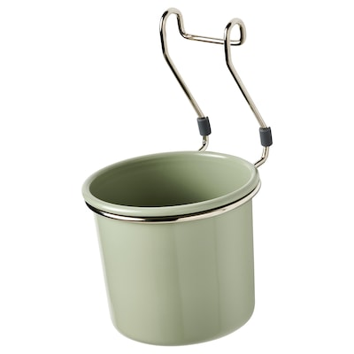 HULTARP Container, green/nickel-plated, 14x16 cm