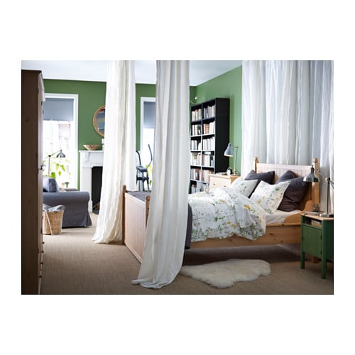 IKEA HURDAL bed frame Made of solid wood, which is a hardwearing and warm natural material.