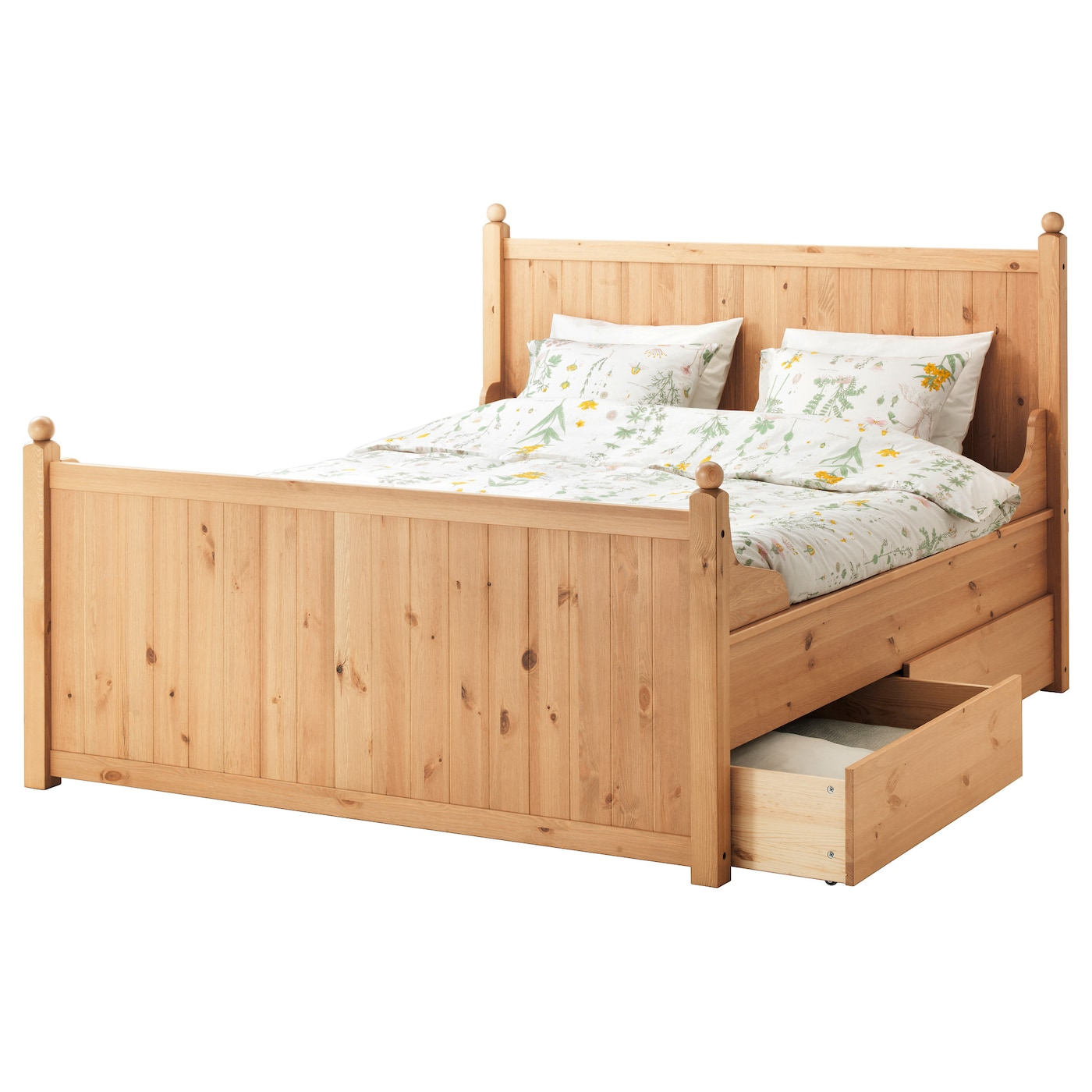 Hurdal Bed Frame With 4 Storage Boxes Light Brown L Nset