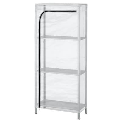 HYLLIS Shelving unit with cover, transparent, 60x27x140 cm