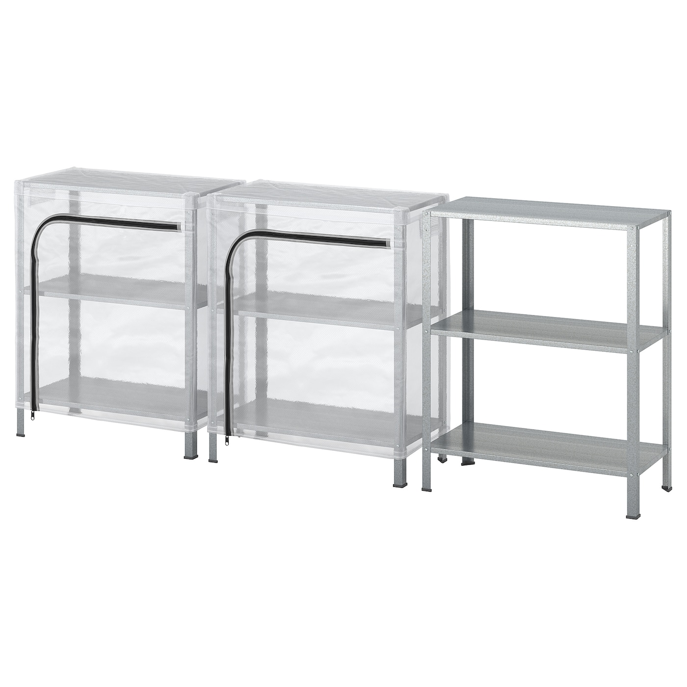 IKEA HYLLIS shelving units with covers The cover is easy to put on and remove.