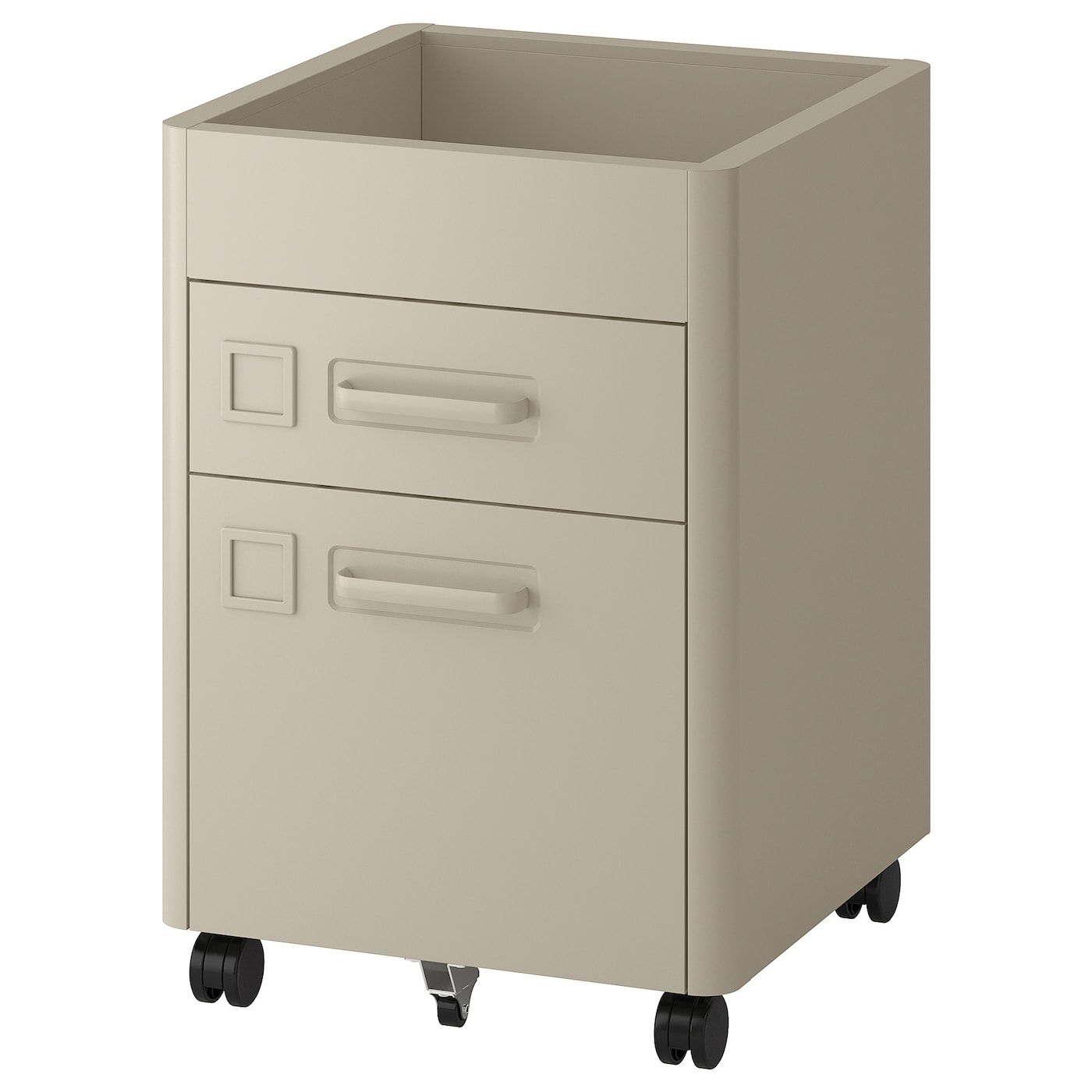 IKEA IDÅSEN drawer unit on castors Integrated damper closes the drawer silently and gently.