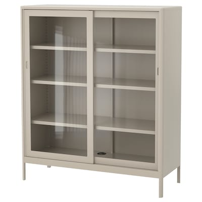 IDÅSEN Cabinet with sliding glass doors, beige, 120x140 cm
