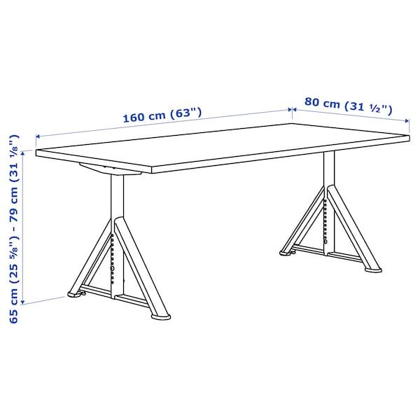 IDÅSEN Desk, black/dark grey, 160x80 cm